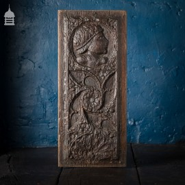 16th C Gothic Carved Oak with Figure and Floral Decoration Panel