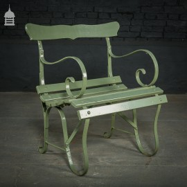 19th C Light Green Wrought Iron Chair with Pine Slats