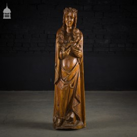 19th C Carved Walnut Madonna and Child