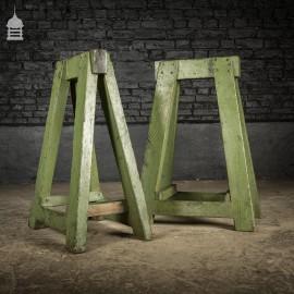 Vintage Pair of Heavy Duty Hardwood Green Industrial Workshop Trestles
