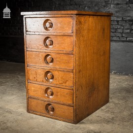 Small 19th C Solid Oak Stack of 6 Drawers with Recessed Circular Pulls