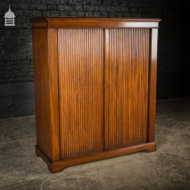 19th C Walnut Cupboard Cabinet with Side Opening Roller Shutter Doors