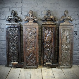 Two pairs of 17th century 3 inch Thick Hand Carved Oak Pew Ends