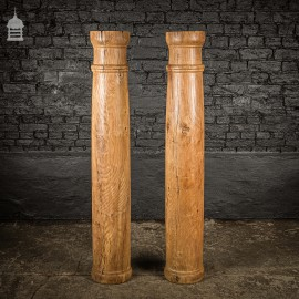 Pair of 19th C Oak Split Flanked Columns