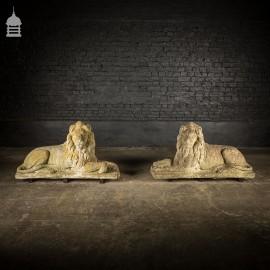 Pair of Large Weathered Concrete Lion Garden Ornament Sculptures