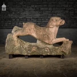 Early 20th C Carved Granite Hound Sculpture Garden Ornament