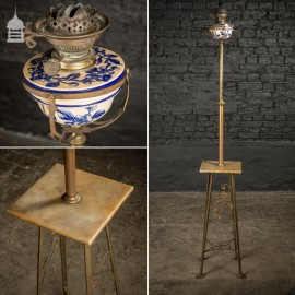 Arts & Craft Adjustable Height Oil Lamp with Alabaster Plinth