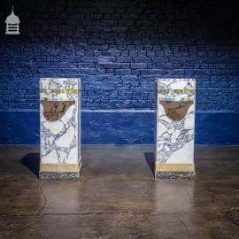 Pair of Marble Art Deco Pedestal Plinths with Shelf