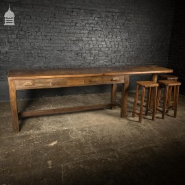 Large 1920's Oak Sideboard Table with Later Breakfast Bar and 3 Stools