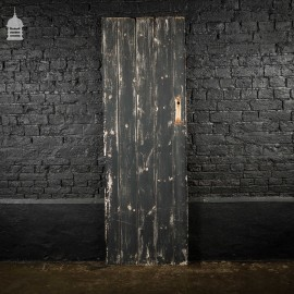 19th C Black Painted V Grove Pine Ledged and Braced Internal Cottage Door