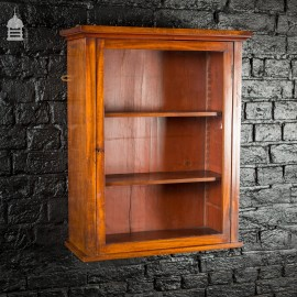 Small 19th C Glazed Mahogany Wall Mounted Display Case Cabinet with Internal Shelves