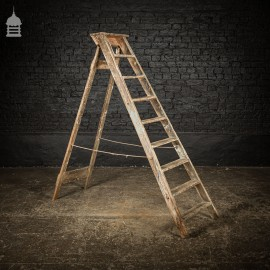 Vintage Pine 'A-Steps' Step Ladder with 9 Treads