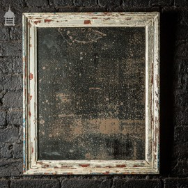 19th C Distressed Plate Mirror in Original Frame