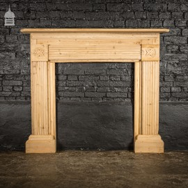 19th C Pine Fluted Fireplace Surround with Later Repair