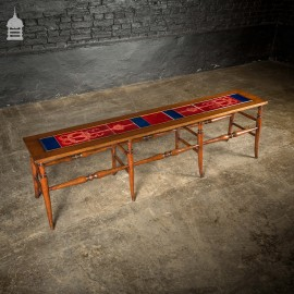 19th C Red & Blue Inset Tiled Bench Stool with Turned Detail Legs