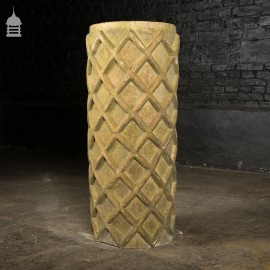 19th C Buff Clay Geometric Design Decorative Chimney Pot