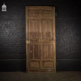 Huge 19th C 8 Panelled Pine Door with Original Hinges