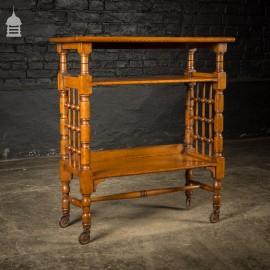 Victorian Arts & Crafts Light Oak Finish Bookshelf on Castors