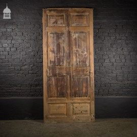Huge 19th C 8 Panelled Pine Door with Raised and Fielded Panels