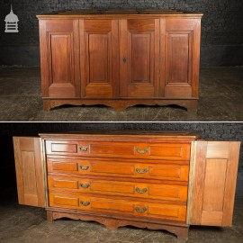 19th C Large Scale Teak Ecclesiastical Vestment Drawers Featuring Raised Moulded Panels On All Sides