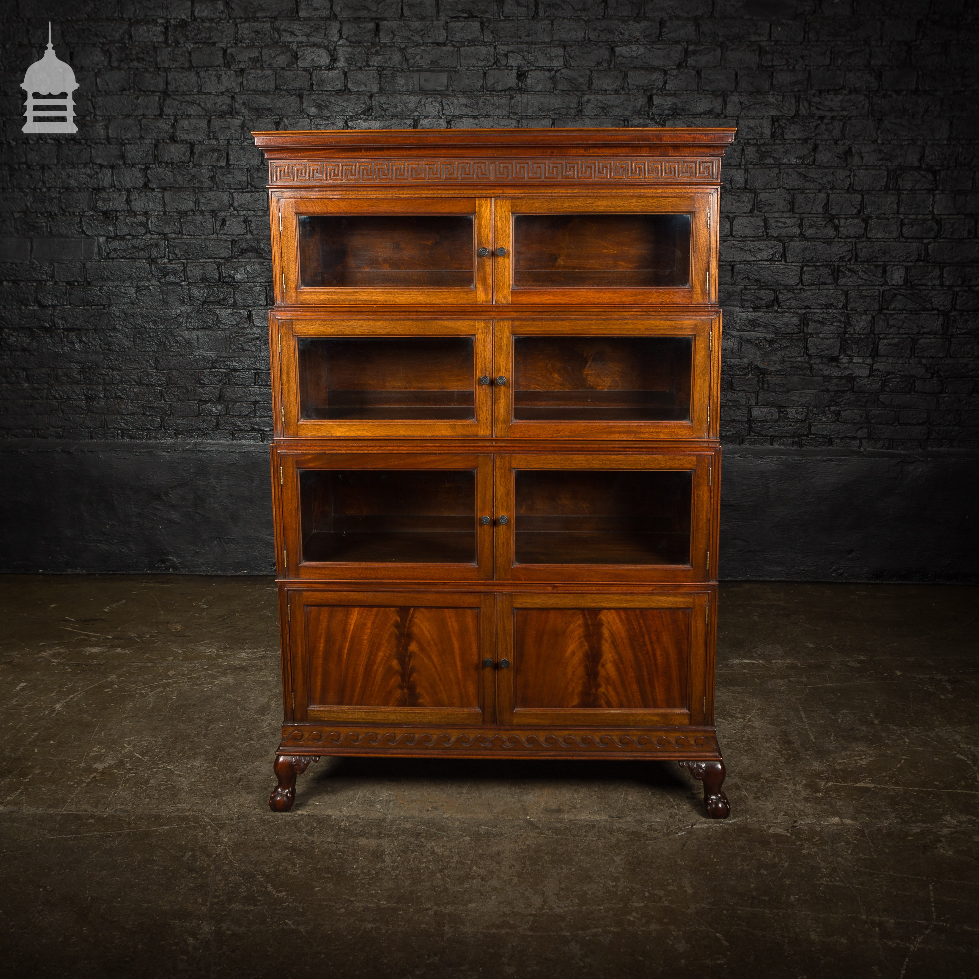 Late 19th C Stackable Glazed Mahogany Display Bookcase On
