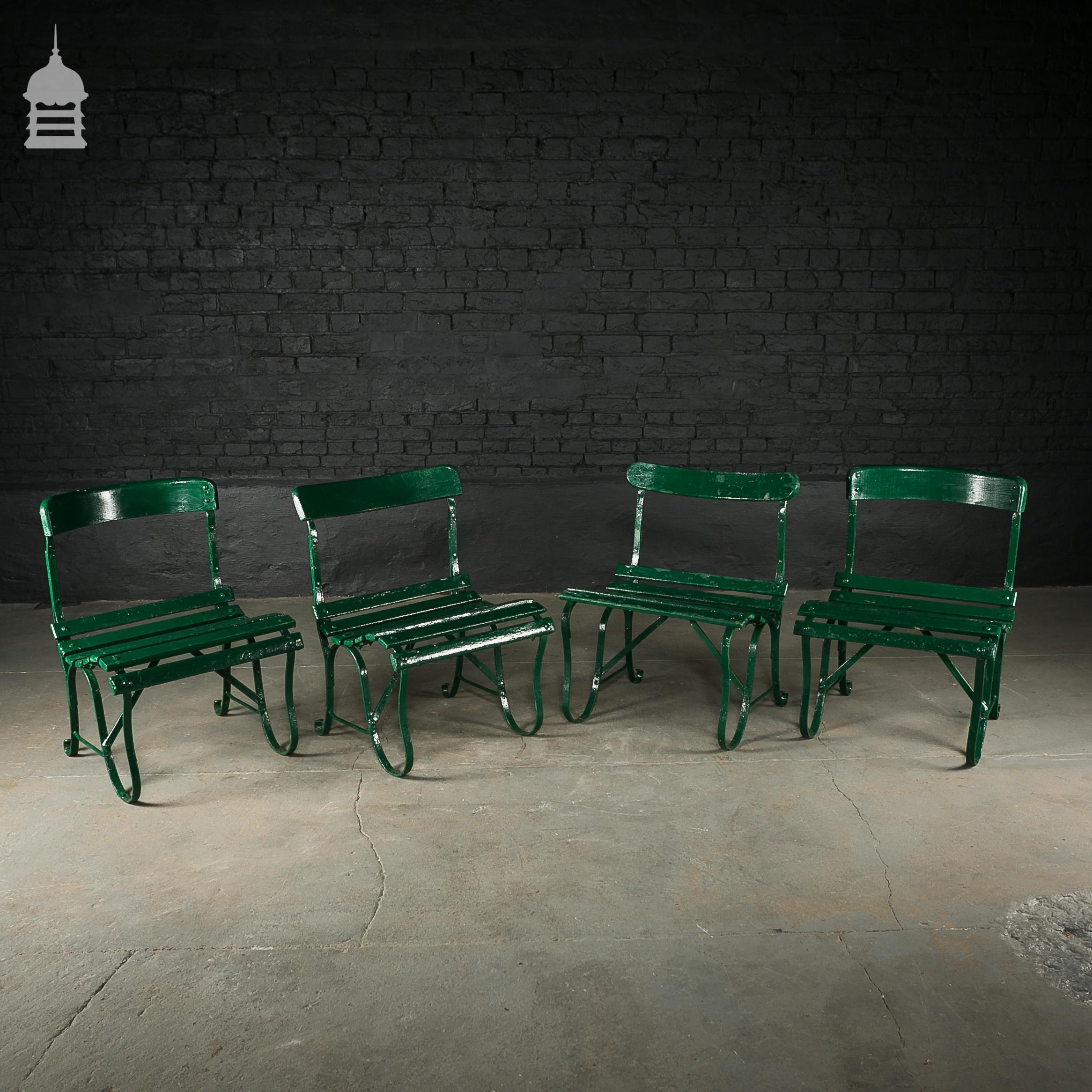 4 Wrought Iron Garden Chairs with Hardwood Slats 2