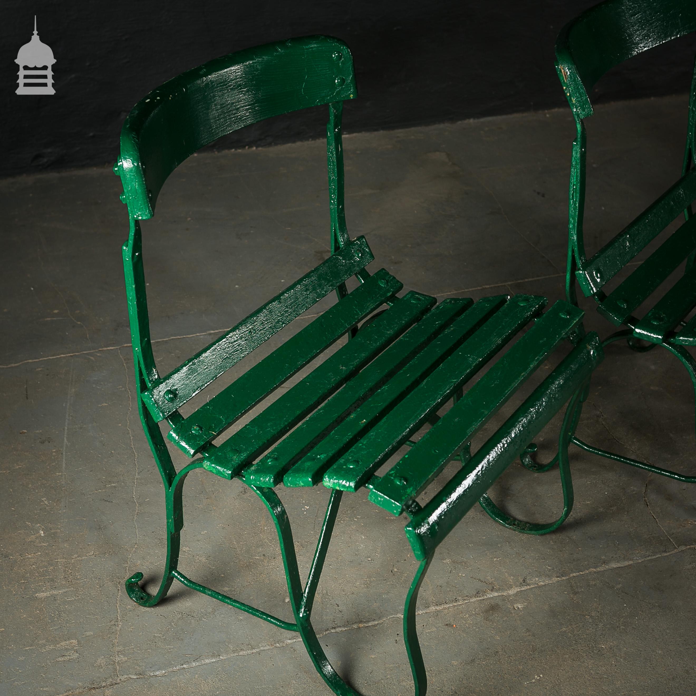 4 Wrought Iron Garden Chairs with Hardwood Slats 6